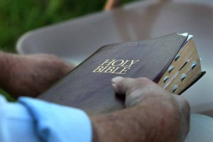 bible held closed